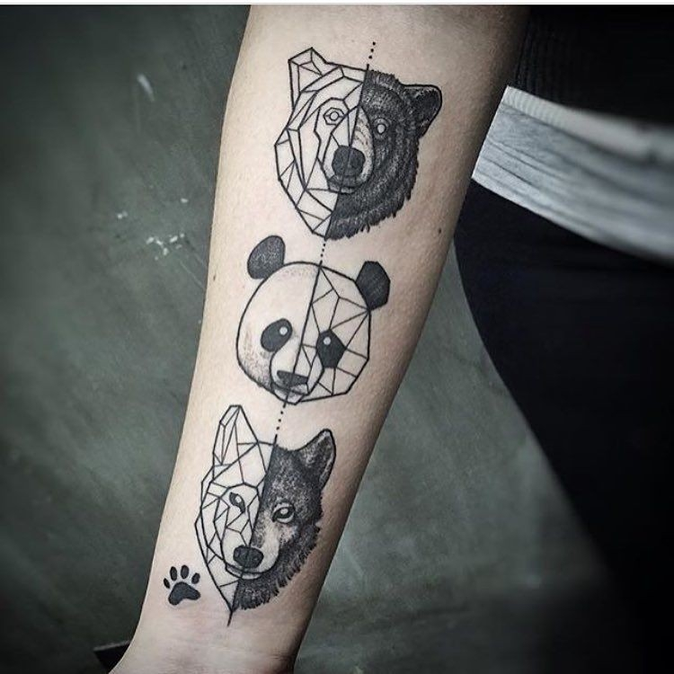 Geometric Tattoos. Animals. Panda Bear. Wolf. Paw Print. Ig inside Geometric Shape Animal Tattoo 25633