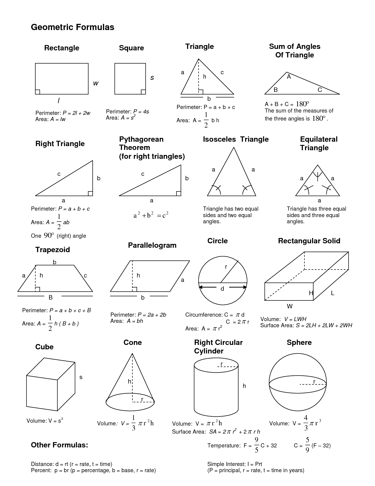Geometrical Formulas … | Pinteres… within Geometry Shapes And Formulas 25050