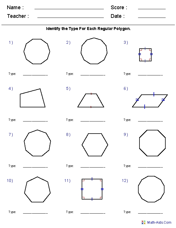 Geometry Worksheets | Quadrilaterals And Polygons Worksheets regarding Geometry Shapes Worksheets 25030