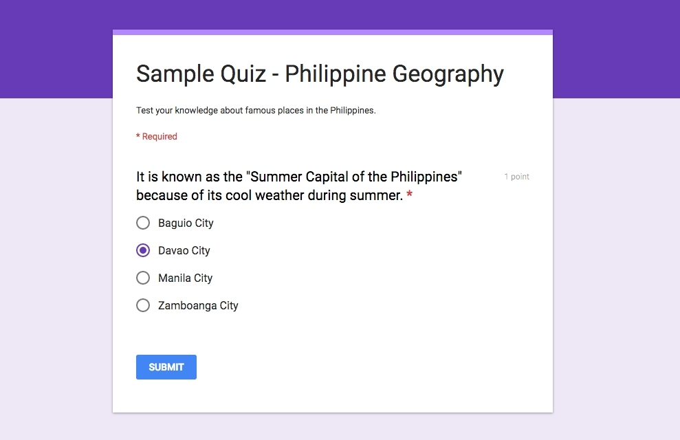 Google Forms Quiz | World Of Example in Google Forms Quiz 24703