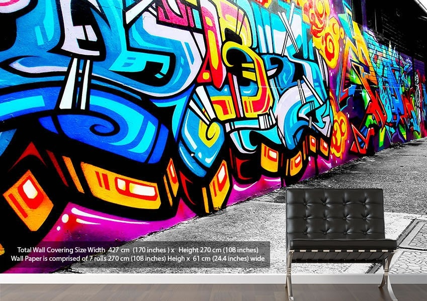 Graffiti Street Art Urban Wallpaper Printed Wall Paper regarding Street Wall Art Wallpaper 29969