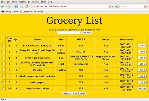 Grocery List - Project Home Page for Grocery List Example 25573