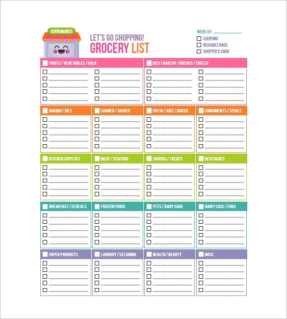 Grocery List Template – 8+ Free Sample, Example, Format Download intended for Grocery List Template 26119