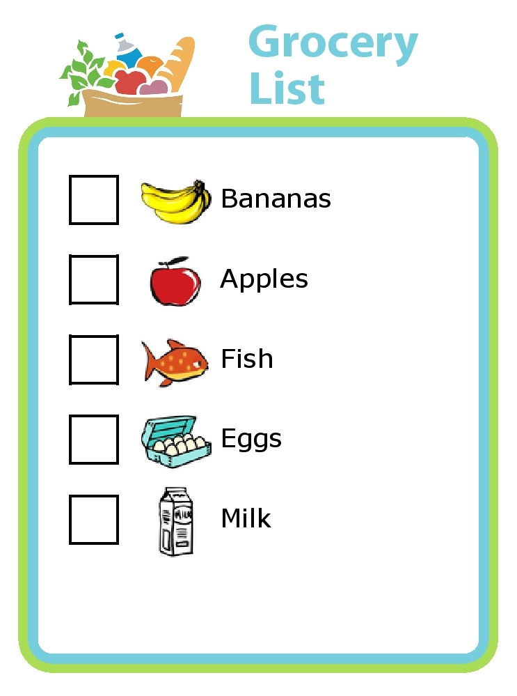 Grocery List Template For Kids | World Of Example pertaining to Grocery List For Kids 25543