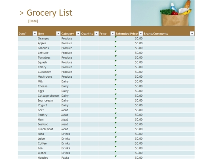Grocery List With Prices Template | World Of Example throughout Grocery List With Prices Template 26109