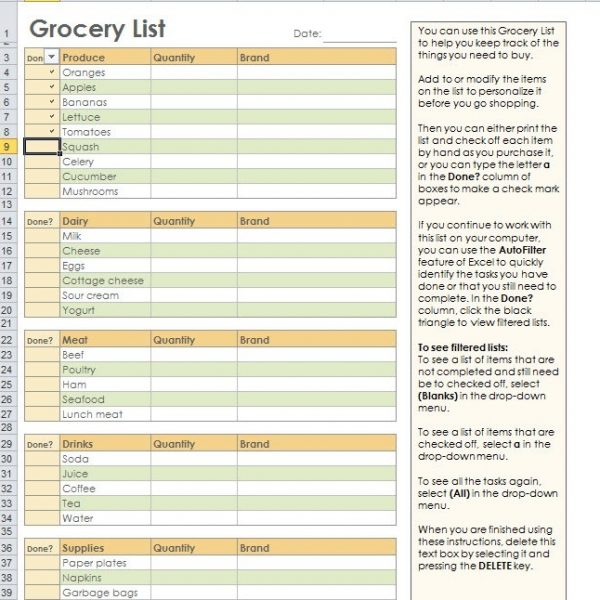 excel grocery list template
