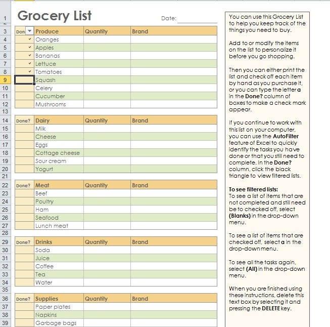 Grocery Shopping List Template For Excel in Grocery List Template Excel 26332
