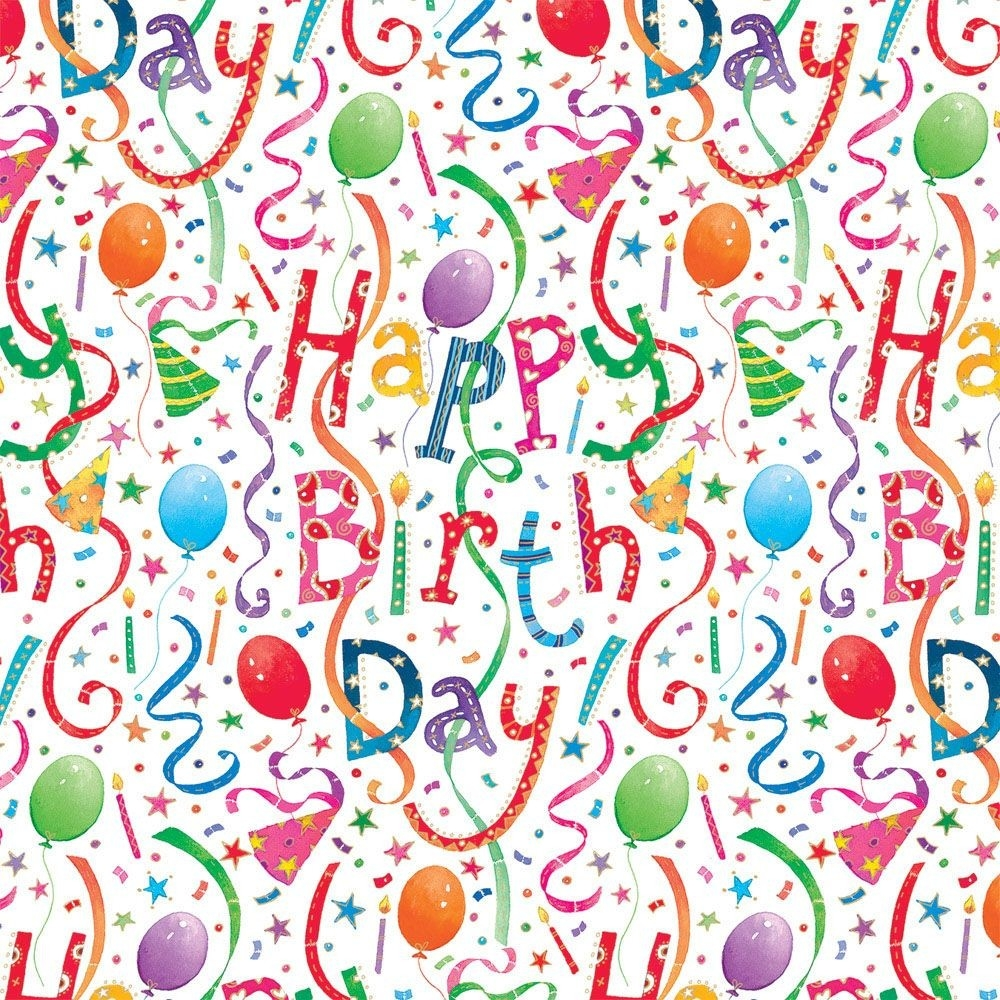 "Happy Birthday Gift Wrap - Two 40"" X 28"" Sheets On Roll 