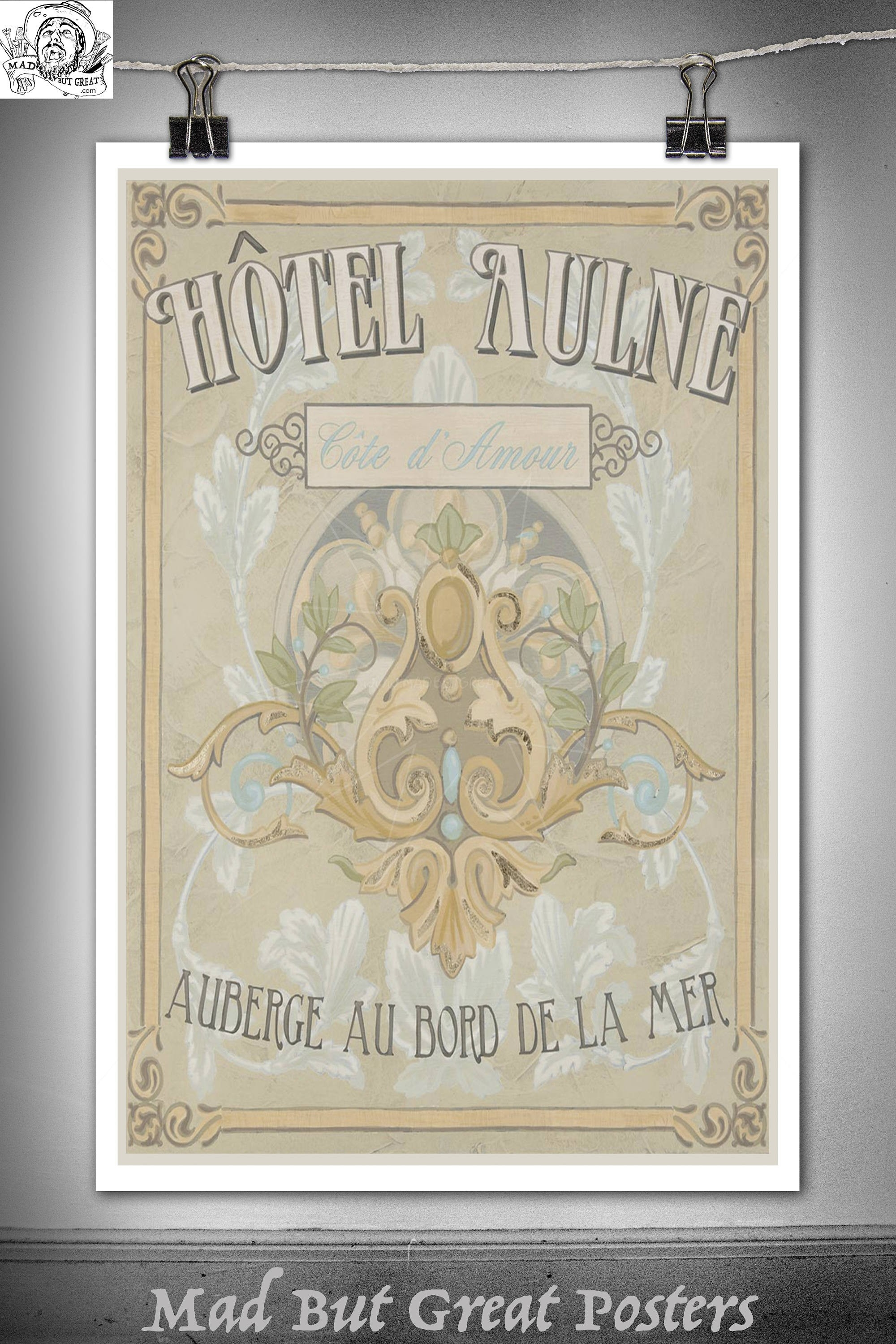 Hotel Aulne - Cote D'amour - Retro - Hotel Sign, Canvas, Vintage inside Vintage Kitchen Wall Art 26604