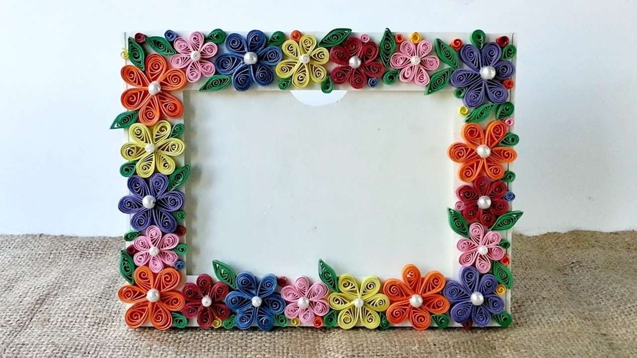 How To Create A Colorful Floral Photo Frame - Diy Crafts Tutorial inside How To Make Handmade Photo Frames With Handmade Paper Step By Step 27693