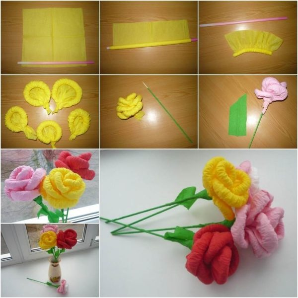 How to diy easy napkin paper flowers intended for how to make how to diy easy napkin paper flowers intended for how to make handmade flowers from paper step by step mightylinksfo