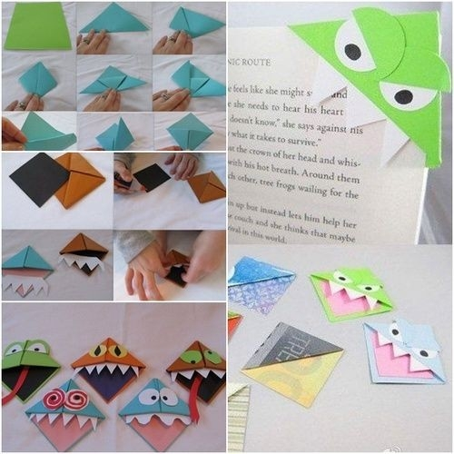 How To Diy Origami Monster Bookmarks | Book Mark | Pinterest throughout Handmade Bookmark Tutorial 29702