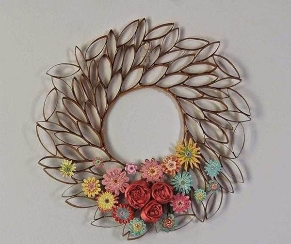 How To Diy Toilet Paper Roll Flower Wall Art For Tissue Paper Roll throughout Tissue Paper Roll Wall Art 27514