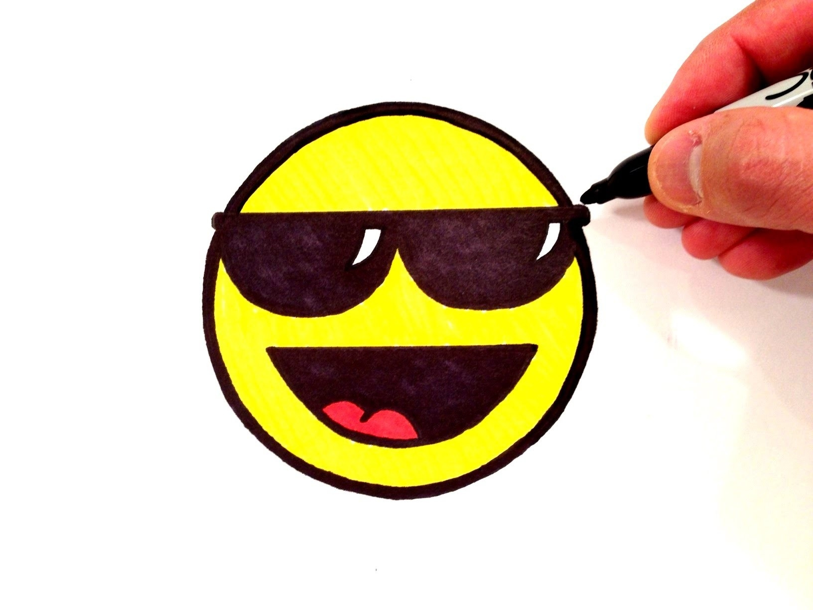 How To Draw A Cool Smiley Face With Sunglasses - Youtube in Cool Smiley Face With Shades 30564