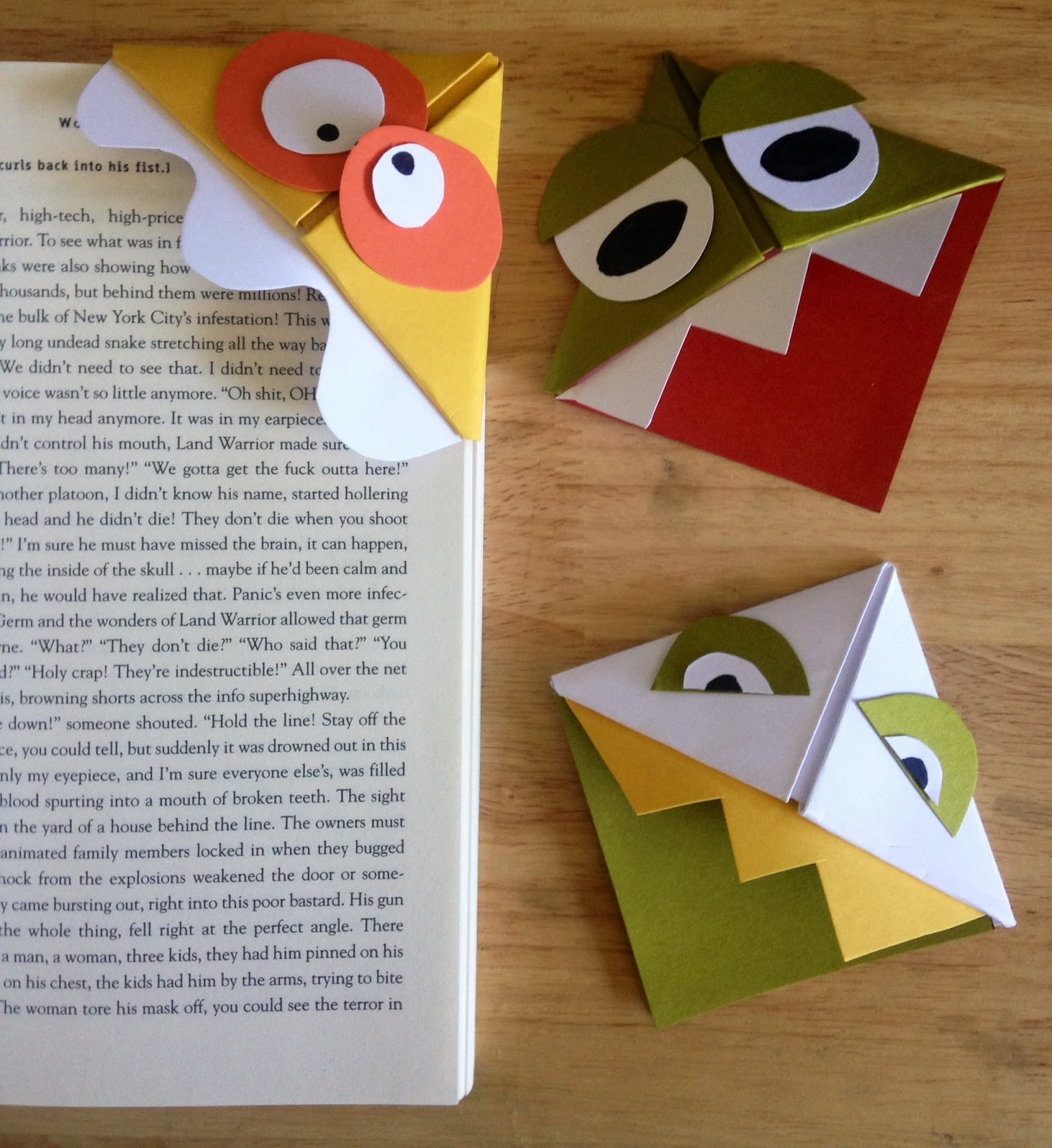 How To, How Hard, And How Much: How To Make Origami Monster Bookmarks! intended for How To Make Bookmarks For Books 27953