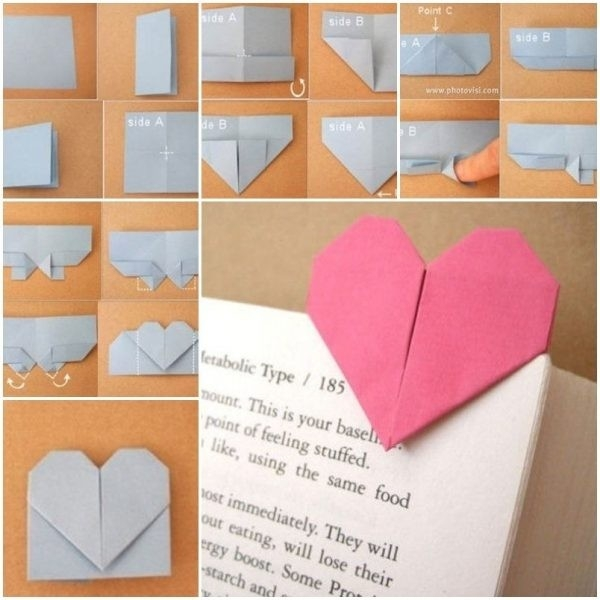 How To Make An Origami Bookmark Diy Origami Heart Shaped Bookmark pertaining to How To Make Heart Bookmarks Step By Step 27868