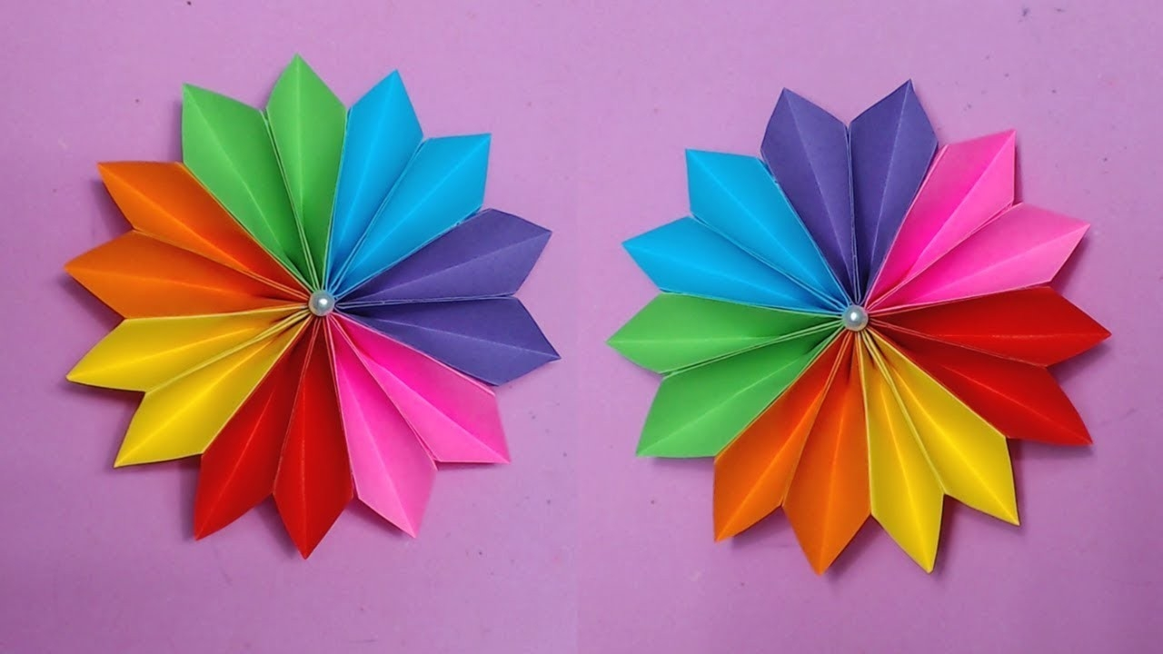 How To Make Easy Flower With Color Paper | Making Paper Flowers with How To Make Paper Roses With Construction Paper Step By Step 27563