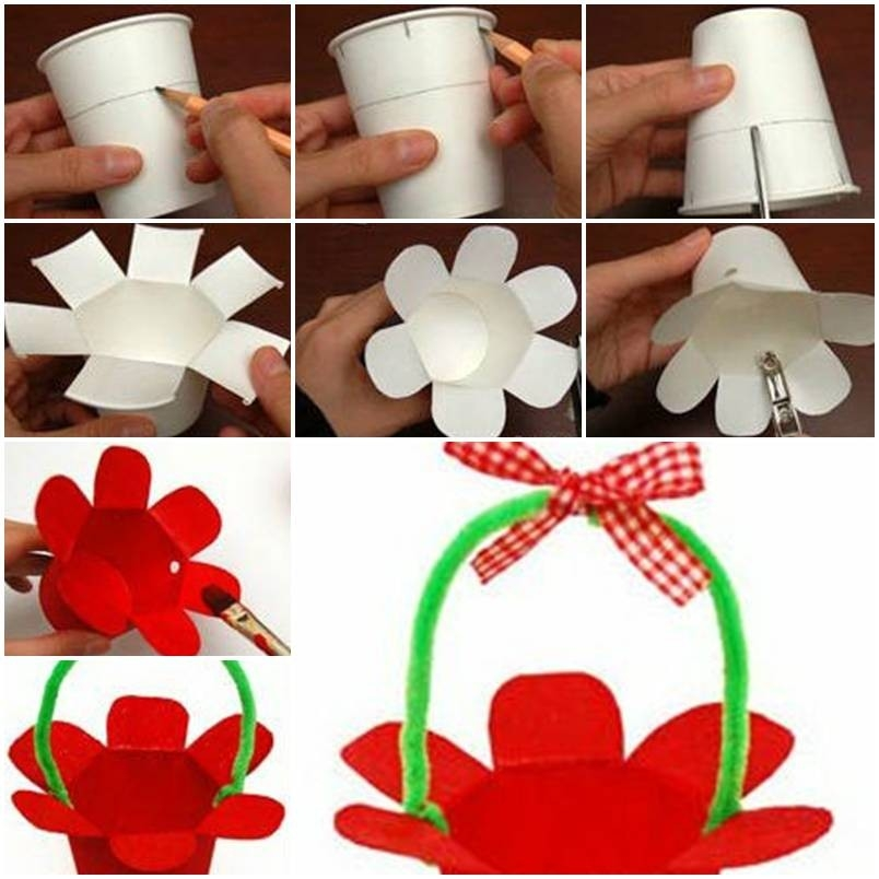 How To Make Paper Cup Basket Step By Step Diy Tutorial for Crafts For Kids To Do At Home Step By Step 27816