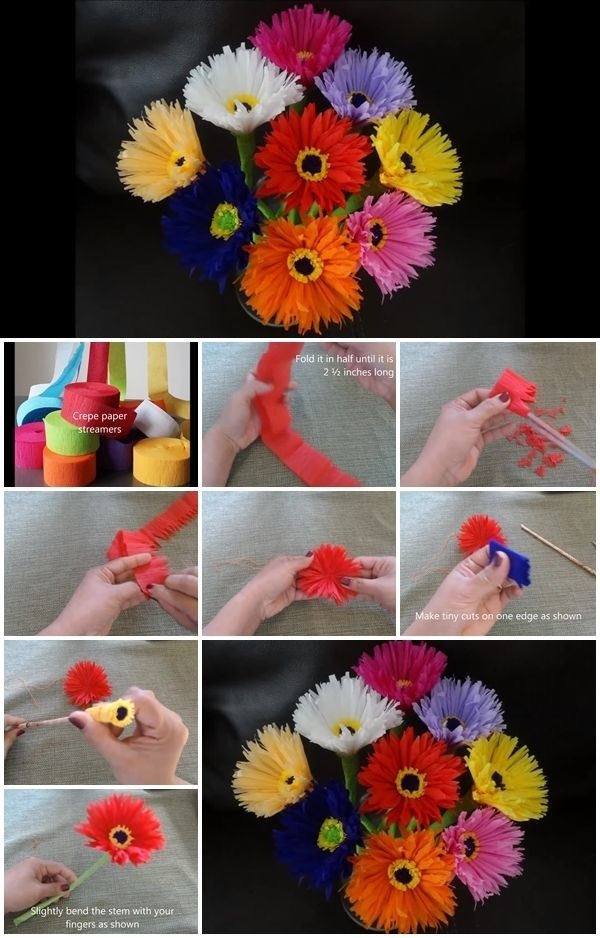 How To Make Paper Flowers Out Of Crepe Streamers | Usefuldiy intended for How To Make Paper Roses With Construction Paper Step By Step 27563