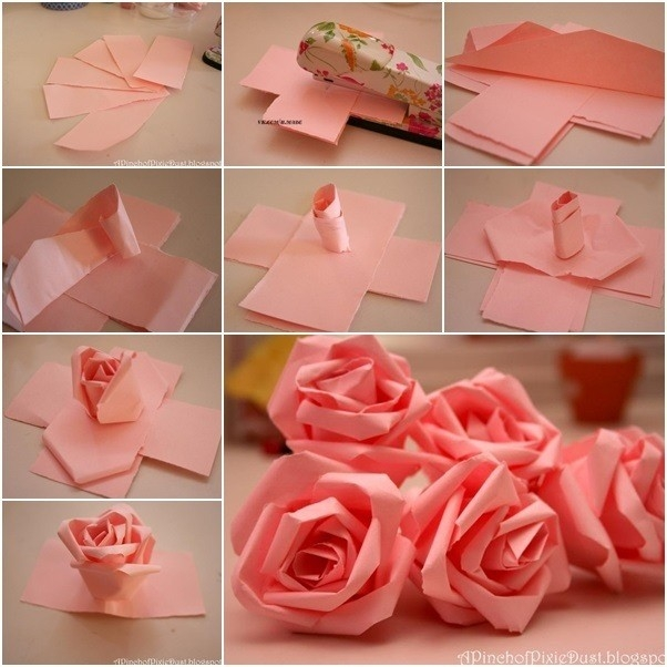 How To Make Paper Roses Step By Step With Pictures | World Of Example for How To Make Paper Roses Step By Step With Pictures 29076