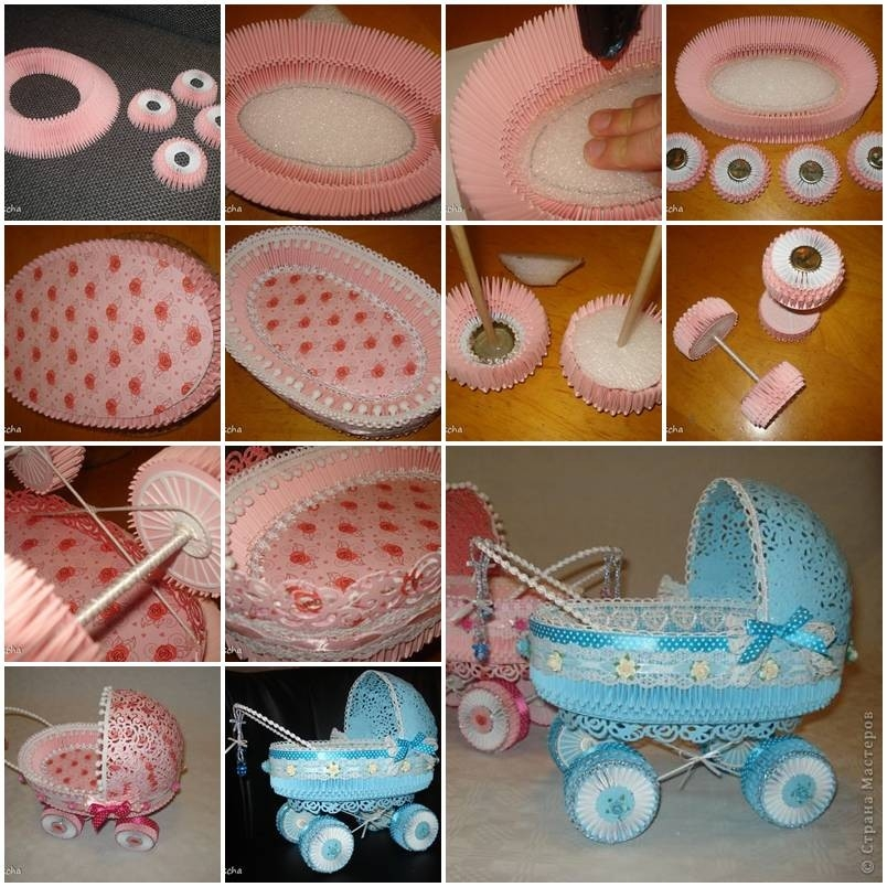 How To Make Paper Stroller For Baby Showers Diy Tutorial regarding How To Make Paper Crafts For Adults 26845