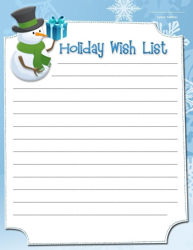 Interesting Holiday Wish List Form Template For Christmas With intended for Printable Christmas Wish List Template 26192