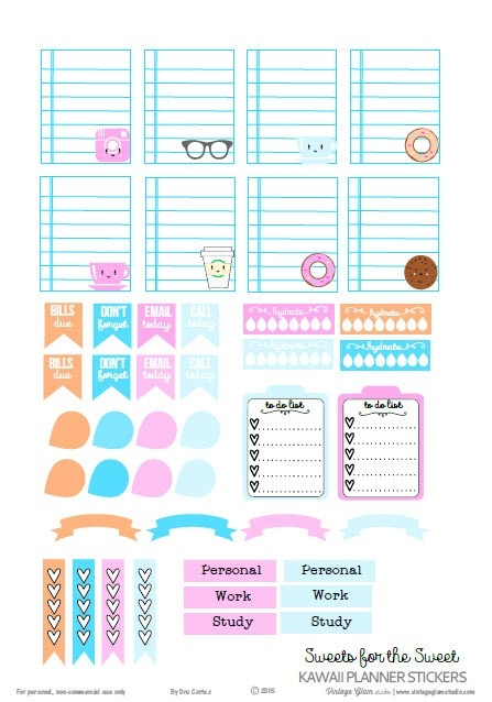 Kawaii Planner Stickers - Free Printable Download | Free Planner pertaining to Cute Planner Stickers 30419