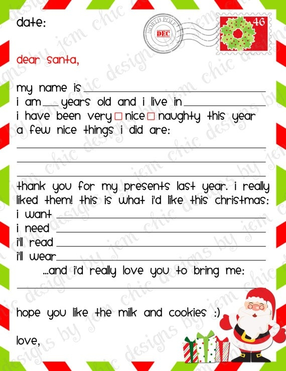 Kids Christmas Wishlist - Printable Dear Santa Letter - Instant for Dear Santa Christmas Wish List Template 26222