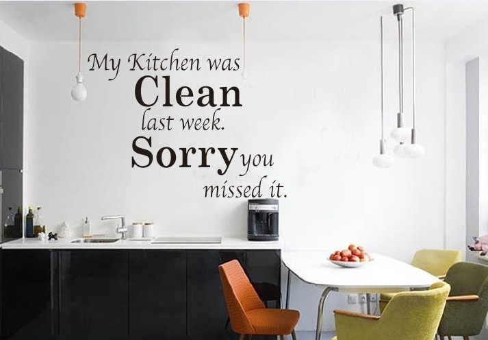 Kitchen Clean English Lettering Quote Motto Wall Decal intended for Kitchen Wall Art Quotes 26594