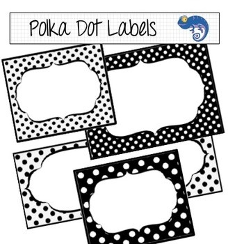 Labels And Digital Papers - Black And White Polka Dot By Clever intended for Editable Black And White Labels 27739