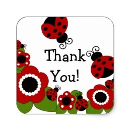 Ladybug Thank You Stickers & Labels | Zazzle Uk regarding Thank You Stickers Square 28299
