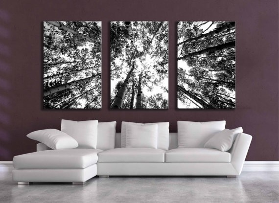 Large Black And White Three Canvas Wall Grouping 80 Inch Aspen in Black And White Bedroom Wall Art