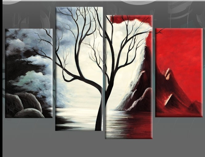 Large Red Black White Canvas Tree Landscape Painting 4 Panel Wall in Black And White Wall Art Painting 28031