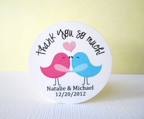 Love Birds Sticker Personalized Thank You Labels Pink And Blue intended for Thank You Stickers For Favors 30449