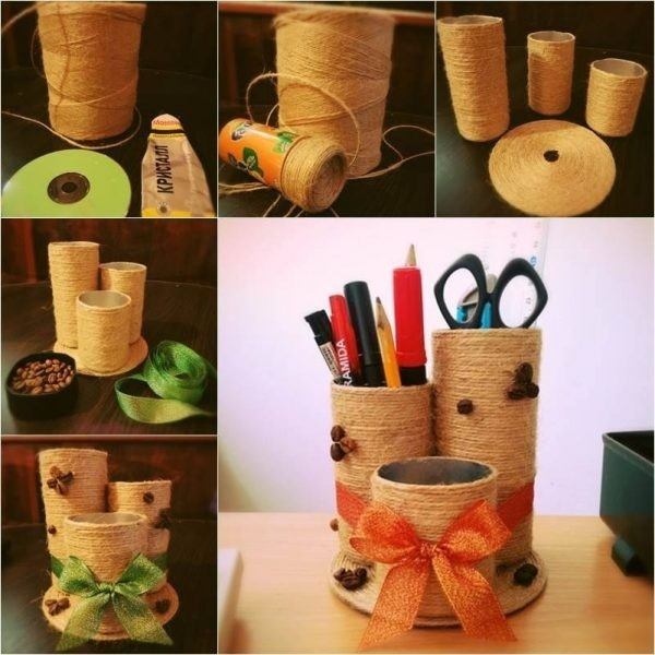 Make A Nice And Easy Desktop Organizer With Some Empty Containers regarding Handmade Things From Waste Material For Kids Step By Step 29065