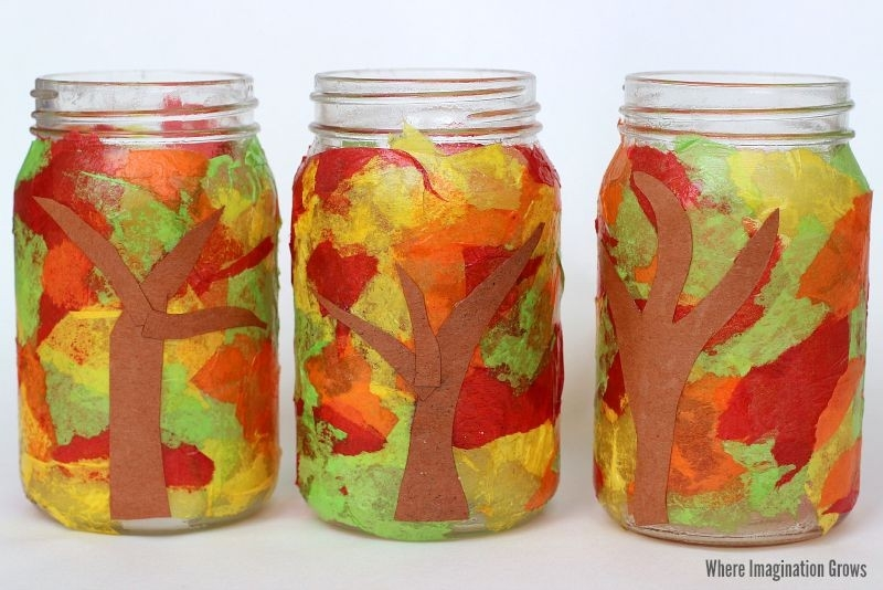 Mason Jar Fall Luminaries Craft - Where Imagination Grows throughout Tissue Paper Jar Crafts 29010