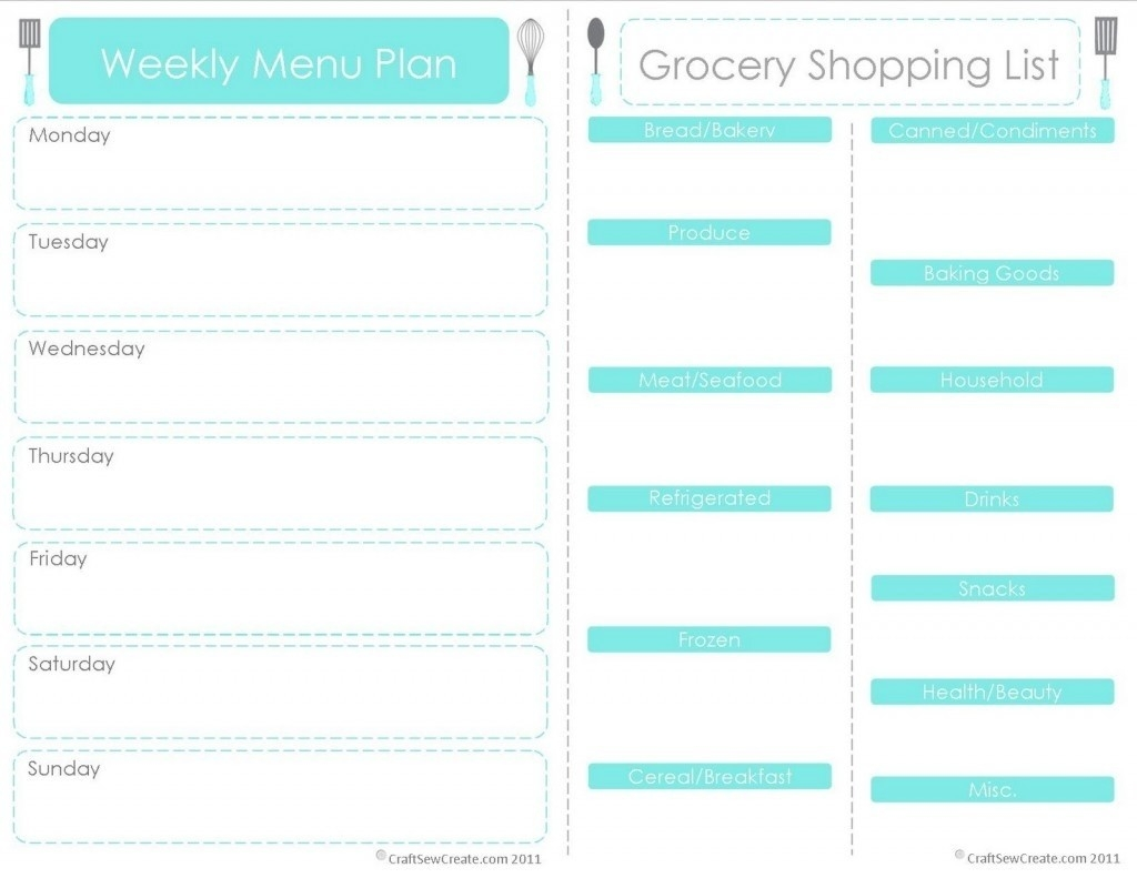 Meal Planner Template With Grocery List | World Of Example with regard to Meal Planner Template With Grocery List 26069