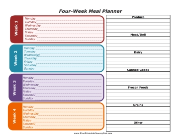 Menu Planners regarding Meal Planner Template With Grocery List 26069
