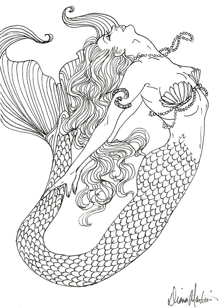 Mermaid Coloring Pages regarding Detailed Coloring Pages Of Mermaids 29451