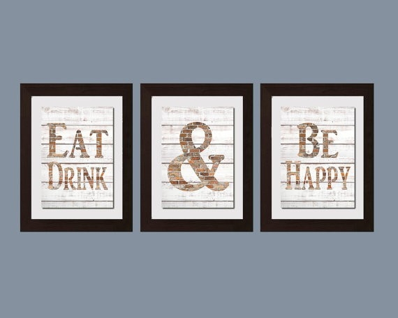 Modern Kitchen Wall Art Shabby Chic Wall Art Eat And Drink throughout Modern Kitchen Wall Art 27109