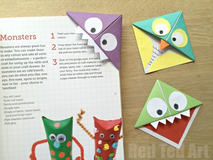 Monster Corner Bookmarks (And Owls!) - Red Ted Art's Blog within How To Make Bookmarks For Books 27953