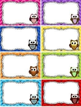 "Name Tags / Blank Labels - Owls And Chevron Theme - Free | ♢""too inside Blank Labels For Kids 29381"