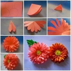 Orange Step By Step Handmade Flowers From Paper | Library Decor within How To Make Paper Craft Flowers Step By Step 28911