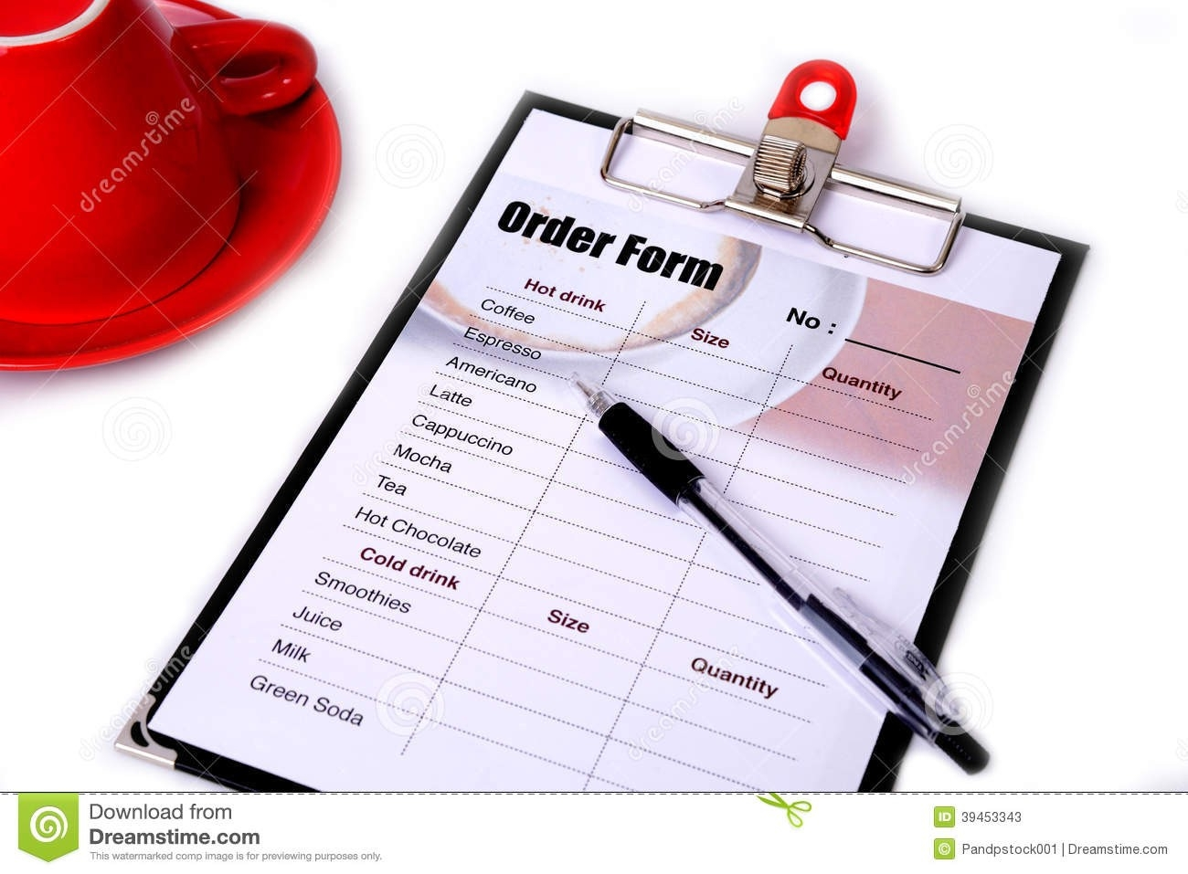 Order Form And A Pen. Stock Image. Image Of Drink, Clipboard inside Order Form Clipart 25190