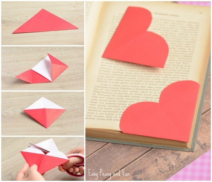 Origami Heart Bookmark - Found-Here in How To Make Heart Bookmarks Step By Step 27868