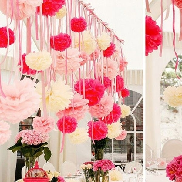 Paper Flowers Ball Garland Decoration Wedding Birthday Party inside Wedding Paper Crafts Ideas 26875