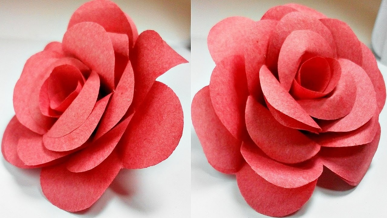 Paper Flowers Rose Diy Tutorial Easy For Children/origami Flower in How To Make Paper Roses Step By Step With Pictures 29076