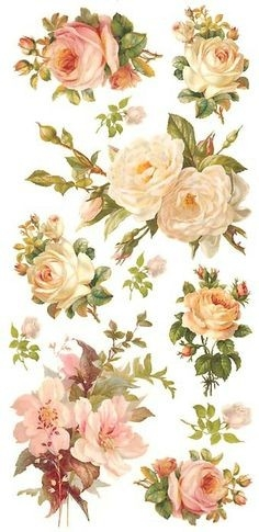 Pastel Rose Stickers For Valentine Card Making | Vintagen throughout Vintage Flower Stickers 28280