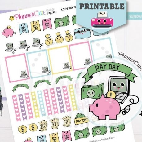 Pay Day Kawaii Printable Planner Stickers,pay Bills Stickers K006 regarding Cute Planner Stickers 30419