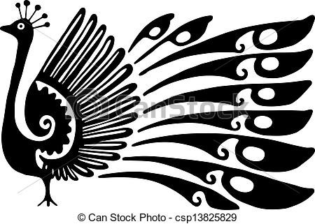 Peacock Design. Simple Black And White Line Drawing Of A Clip inside Simple Black And White Art 30096